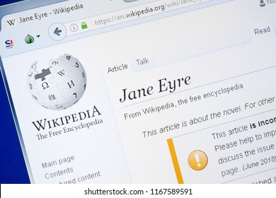 Ryazan, Russia - August 28, 2018: Wikipedia page about Jane Eyre on the display of PC.