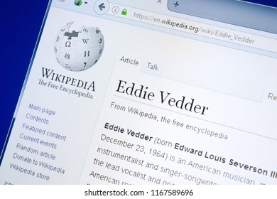 Ryazan, Russia - August 28, 2018: Wikipedia page about Eddie Vedder on the display of PC.
