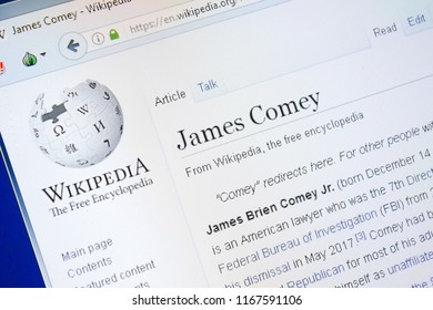 Ryazan, Russia - August 28, 2018: Wikipedia page about James Comey on the display of PC.