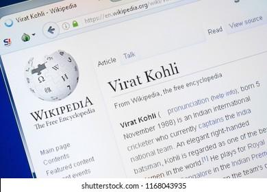 Ryazan, Russia - August 28, 2018: Wikipedia page about Virat Kohli on the display of PC.