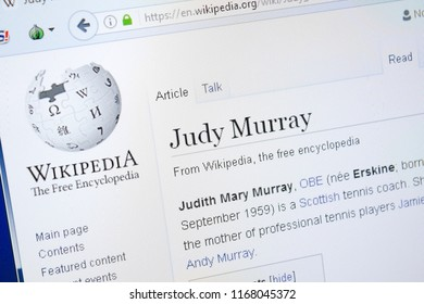Ryazan, Russia - August 28, 2018: Wikipedia page about Judy Murray on the display of PC.