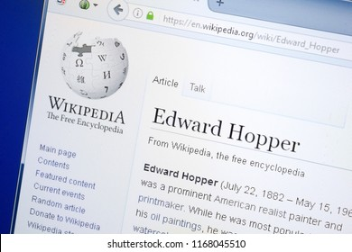 Ryazan, Russia - August 28, 2018: Wikipedia page about Edward Hopper on the display of PC.