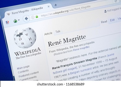 Ryazan, Russia - August 28, 2018: Wikipedia page about Rene Magritte on the display of PC.