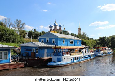 Ryazan, Russia. August 7, 2015.  Berth and ships on the Oka river in Ryazan near the Ryazan Kremlin