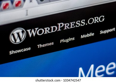 RYAZAN, RUSSIA - FEBRUARY 22, 2018. Wordpress homepage on the display of PC.