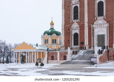 Ryazan, Russia - January 20, 2018: Winter view of the Nativity Cathedral in the Ryazan Kremlin, Ryazan, Russia.