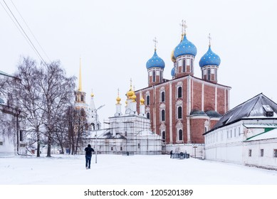Ryazan, Russia - January 20, 2018: Winter panoramic view of the Cathedral of the Assumption in the Ryazan Kremlin, Ryazan, Russia