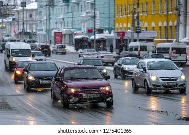 Ryazan, Russia - January, 5, 2019: cars on a street in a center of Ryazan