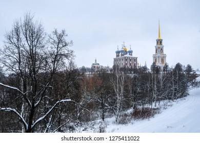 Ryazan, Russia - January, 5, 2019: landscape with the image of Ryazan Kremlin