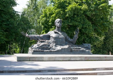 Ryazan, Russia - July 01.2016: Monument to Sergei Yesenin, a great Russian poet. Author of a monument is Kibalnikov, architect Begunts.
