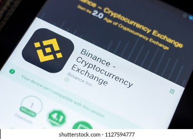 Ryazan, Russia - July 03, 2018: Binance - Cryptocurrency Exchange mobile app on the display of tablet PC.