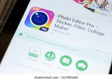 Ryazan, Russia - July 03, 2018: Photo Editor Pro ? Sticker, Filter, Collage Maker mobile app on the display of tablet PC.