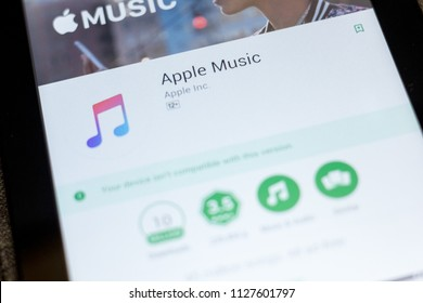 Ryazan, Russia - July 03, 2018: Apple Music mobile app on the display of tablet PC.