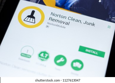 Ryazan, Russia - July 03, 2018: Norton Clean, Junk Removal mobile app on the display of tablet PC.