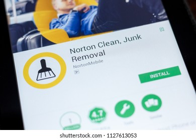 Ryazan, Russia - July 03, 2018: Norton Clean, Junk Removal icon in the list of mobile apps.