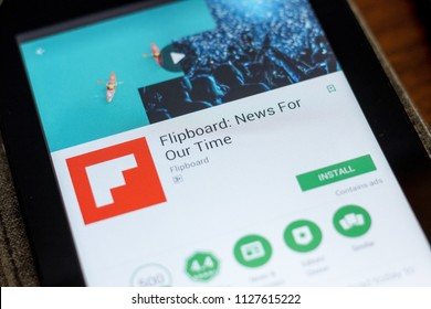 Ryazan, Russia - July 03, 2018: Flipboard: News For Our Time mobile app on the display of tablet PC.