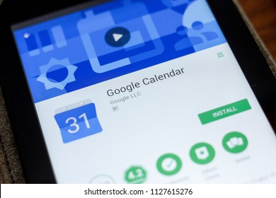 Ryazan, Russia - July 03, 2018: Google Calendar mobile app on the display of tablet PC.
