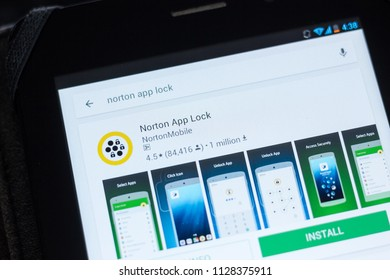 Ryazan, Russia - July 03, 2018: Norton App Lock icon in the list of mobile apps.