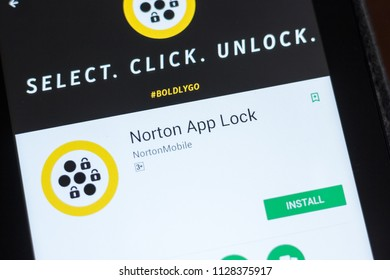 Ryazan, Russia - July 03, 2018: Norton App Lock mobile app on the display of tablet PC.
