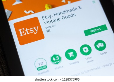 Ryazan, Russia - July 03, 2018: Etsy: Handmade and Vintage Goods mobile app on the display of tablet PC.