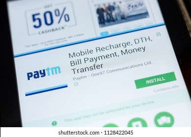 Ryazan, Russia - July 03, 2018: PayTm Mobile Recharge, DTH, Bill Payment, Money Transfer mobile app on the display of tablet PC.