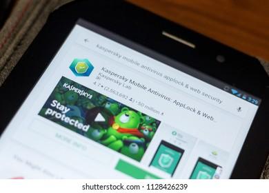 Ryazan, Russia - July 03, 2018: Kaspersky Mobile Antivirus: AppLock & Web Security icon in the list of mobile apps.