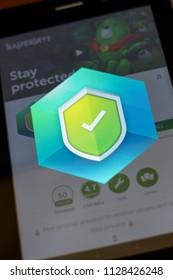 Ryazan, Russia - July 03, 2018: Kaspersky Mobile Antivirus: AppLock & Web Security mobile app Logo on the display of cell phone.