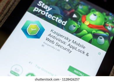 Ryazan, Russia - July 03, 2018: Kaspersky Mobile Antivirus: AppLock & Web Security mobile app on the display of tablet PC.