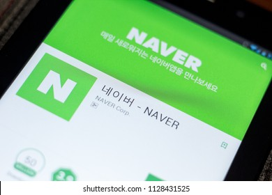 Ryazan, Russia - July 03, 2018: ??? - NAVER mobile app on the display of tablet PC.