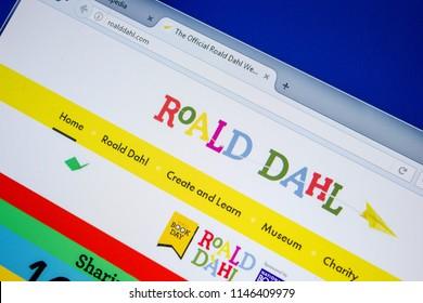 Ryazan, Russia - July 08, 2018: RoaldDahl.com website on the display of PC.