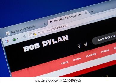 Ryazan, Russia - July 08, 2018: BobDylan.com website on the display of PC.