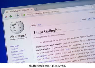 Ryazan, Russia - July 09, 2018: Page on Wikipedia about Liam Gallagher on the display of PC.