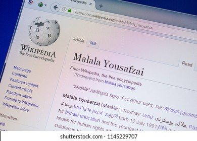 Ryazan, Russia - July 09, 2018: Page on Wikipedia about Malala Yousafzai on the display of PC.