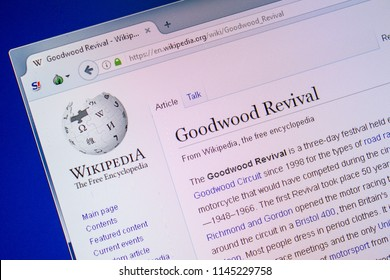 Ryazan, Russia - July 09, 2018: Page on Wikipedia about Goodwood Revival on the display of PC.