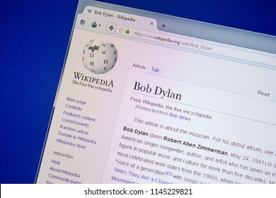 Ryazan, Russia - July 09, 2018: Page on Wikipedia about Bob Dylan on the display of PC.