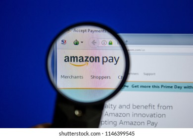 Ryazan, Russia - July 11, 2018: Pay.Amazon.com website on the display of PC.