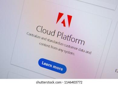 Ryazan, Russia - July 11, 2018: Adobe Cloud Platform, software logo on the official website of Adobe.