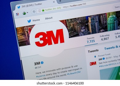 Ryazan, Russia - July 11, 2018: Twitter of 3M website on the display of PC.