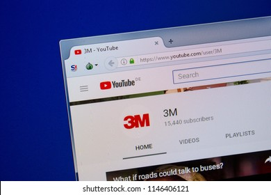 Ryazan, Russia - July 11, 2018: Youtube of 3M website on the display of PC.