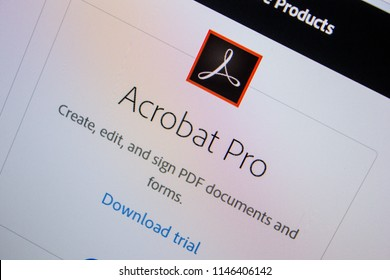 Ryazan, Russia - July 11, 2018: Adobe Acrobat Pro, software logo on the official website of Adobe.