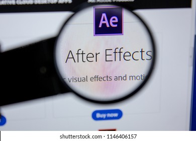 Ryazan, Russia - July 11, 2018: Adobe After Effects, software logo on the official website of Adobe.