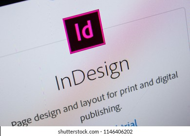 Ryazan, Russia - July 11, 2018: Adobe InDesign, software logo on the official website of Adobe.