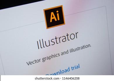 Ryazan, Russia - July 11, 2018: Adobe Illustrator, software logo on the official website of Adobe.