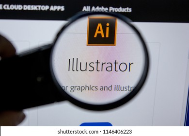 Ryazan, Russia - July 11, 2018: Adobe Illustrator, software logo on the official website of Adobe.