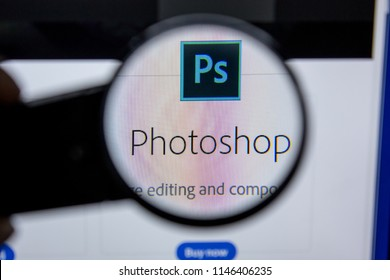 Ryazan, Russia - July 11, 2018: Adobe Photoshop, software logo on the official website of Adobe.