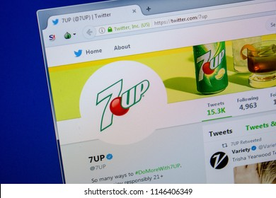 Ryazan, Russia - July 11, 2018: Twitter of 7UP website on the display of PC.