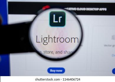 Ryazan, Russia - July 11, 2018: Adobe Lightroom, software logo on the official website of Adobe.