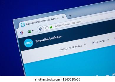 Ryazan, Russia - July 24, 2018: Homepage of Xero website on the display of PC. Url - Xero.com .