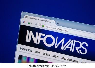 Ryazan, Russia - July 24, 2018: Homepage of InfoWars website on the display of PC. Url - InfoWars.com .