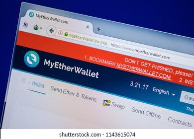 Ryazan, Russia - July 24, 2018: Homepage of MyEtherWallet website on the display of PC. Url - MyEtherWallet.com .